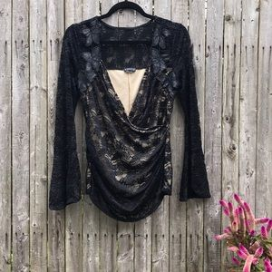 Venus   SEXY Black Floral Lace Flare Sleeve Top